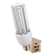 Kit 25 Lâmpadas de Led 3U 24w Milho Frio Bi-Volt Econômica