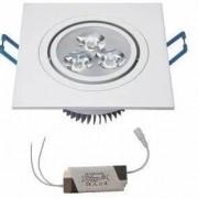 Kit 25 Spot Led de Embutir Quadrado 3W Bivolt 6500K - Luz Branca