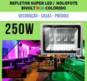 KIT 5 Refletor RGB MultiColorido 250w Bivolt 4 CHIPS