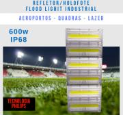 KIT 5 REFLETORES LED MODELO 2019 FLOOD LIGHT 600W IP68 TRÊS MÓDULOS NUMBER THREE