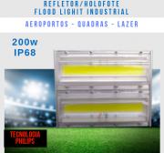 KIT 6 REFLETORES LED MODELO 2019 FLOOD LIGHT 200W IP68 UM MÓDULO NUMBER THREE