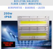 KIT 8 REFLETORES LED MODELO 2019 FLOOD LIGHT 200W IP68 UM MÓDULO NUMBER THREE