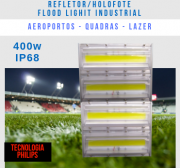 KIT c/ 5 REFLETOR LED MODELO 2019 FLOOD LIGHT 400W IP68 DOIS MÓDULOS NUMBER THREE