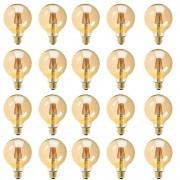 Kit com 20 Lâmpadas Filamento Vintage em LED 8w G80 Vidro Âmbar E27 Retrô - Bivolt