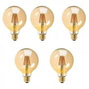 Kit com 5 Lâmpadas Filamento Vintage em LED 8w G80 Vidro Âmbar E27 Retrô - Bivolt