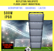 KIT COM 5 REFLETOR INDUSTRIAL MODELO 2019 FLOOD LIGHT (TECNOLOGIA PHILIPS) 500W CINCO MÓDULOS NUMBER TWO