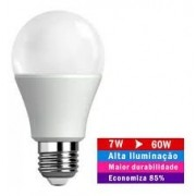 Lâmpada Led 7w Bulbo Bivolt E27 90% Mais Econômico!