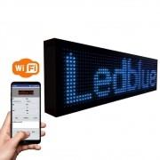 Letreiro Luminoso Painel Led indoor Digital 1m X 20cm Wifi azul blue