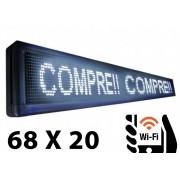 Letreiro Luminoso Painel Led indoor Digital 68cm X 20cm Wi-fi branco