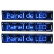 Painel De Led Letreiro Digital Indoor Azul 130x20