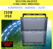 REFLETOR LED MODELO 2019 FLOOD LIGHT (TECNOLOGIA PHILIPS) 250W IP68 DOIS MÓDULOS NUMBER TWO
