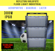 REFLETOR LED MODELO 2019 FLOOD LIGHT (TECNOLOGIA PHILIPS) 300W IP68 TRÊS MÓDULOS NUMBER TWO