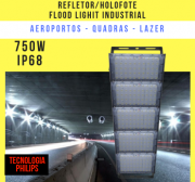 REFLETOR LED MODELO 2019 FLOOD LIGHT (TECNOLOGIA PHILIPS) 750W IP68 CINCO MÓDULOS NUMBER TWO