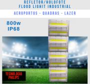 REFLETOR LED MODELO 2019 FLOOD LIGHT (TECNOLOGIA PHILIPS) 800W IP68 QUATRO MÓDULOS NUMBER THREE
