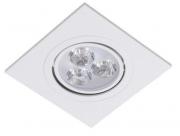 Spot Led de Embutir Quadrado 3W Bivolt 6500K - Luz Branca