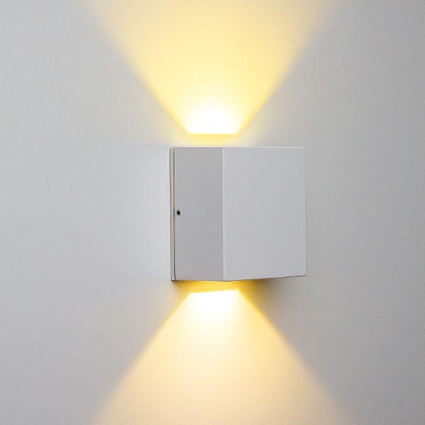 Arandela Pequena Quadrada de Alumínio Efeito 2 Fachos uso interno / externo para lâmpada Halopin G9