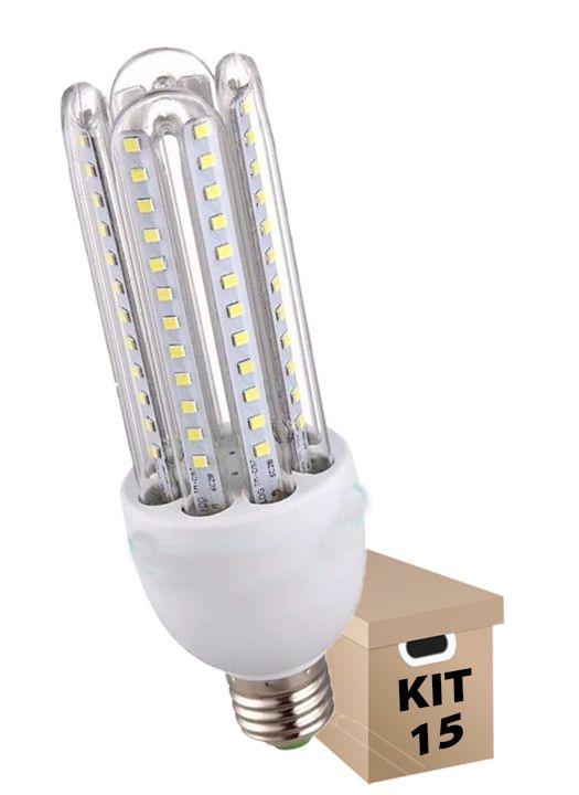 Kit 15 Lâmpadas de Led 3U 24w Milho Frio Bi-Volt Econômica