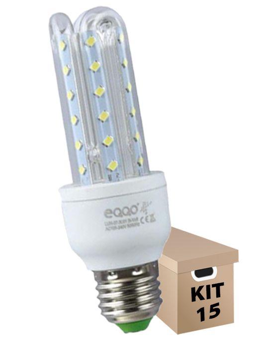 Kit 15 Lâmpadas de Led 3U 7w Milho Super Led Branca