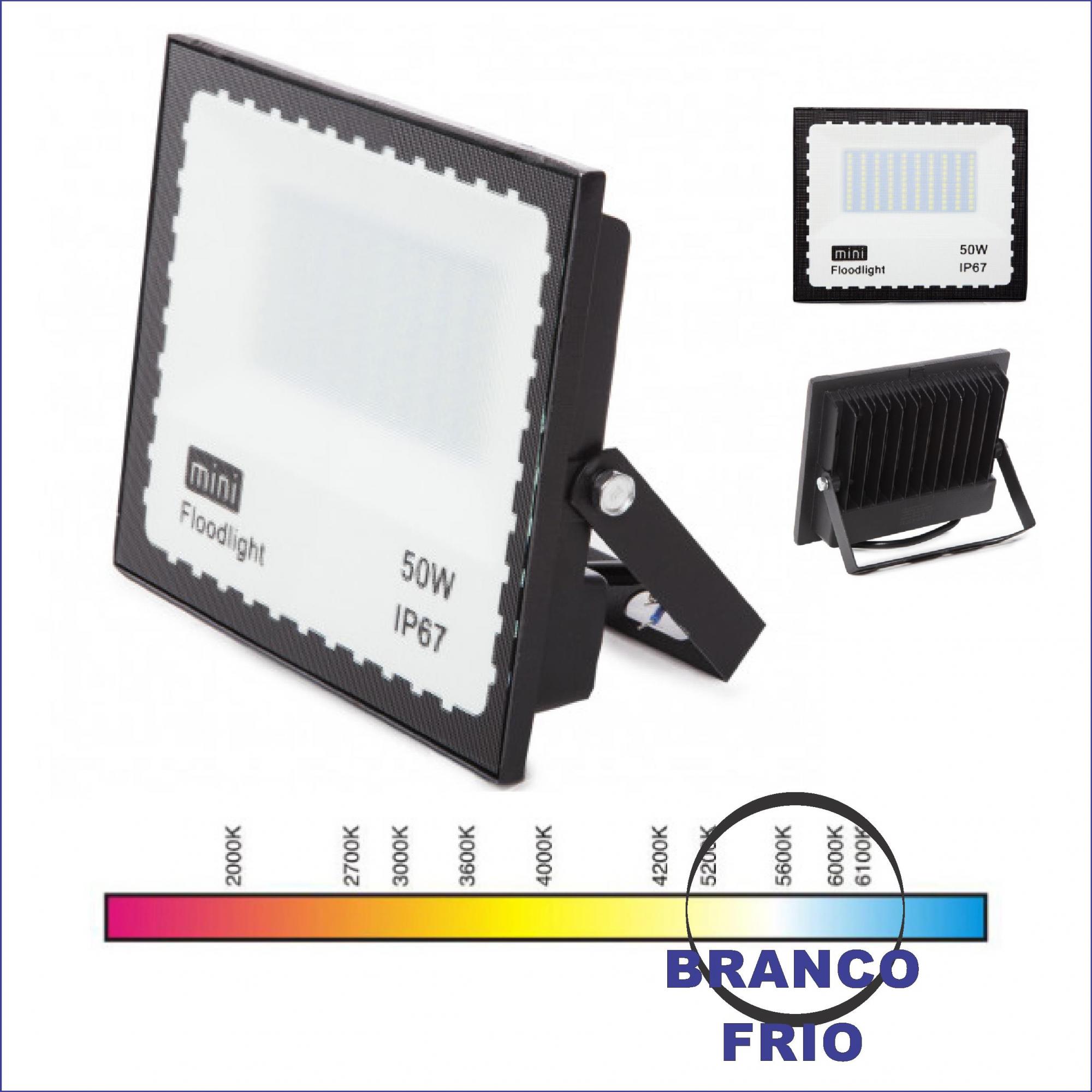 Kit 20 Mini Refletores Holofote LED SMD 50W Branco Frio IP67