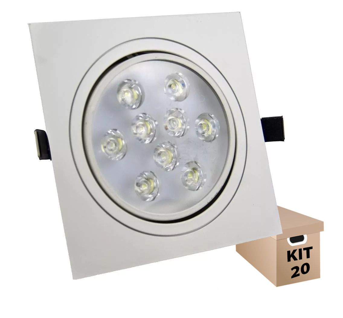 Kit 20 Spot Led 9w Quadrado Branco Frio Direcionável Bivolt