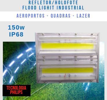 KIT 3 REFLETORES LED MODELO 2019 FLOOD LIGHT 150W IP68 UM MÓDULO NUMBER THREE