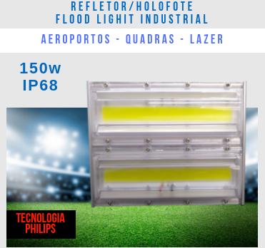 KIT 5 REFLETORES LED MODELO 2019 FLOOD LIGHT 150W IP68 UM MÓDULO NUMBER THREE