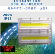 KIT 5 REFLETORES LED MODELO 2019 FLOOD LIGHT 200W IP68 UM MÓDULO NUMBER THREE