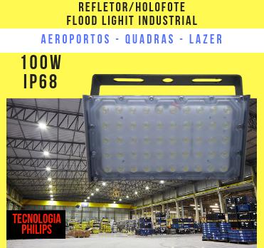 KIT 6 REFLETOR LED MODELO 2019 FLOOD LIGHT (TECNOLOGIA PHILIPS) 100W IP68 UM MÓDULO NUMBER TWO