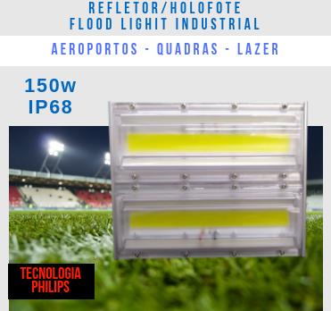 KIT 6 REFLETORES LED MODELO 2019 FLOOD LIGHT 150W IP68 UM MÓDULO NUMBER THREE