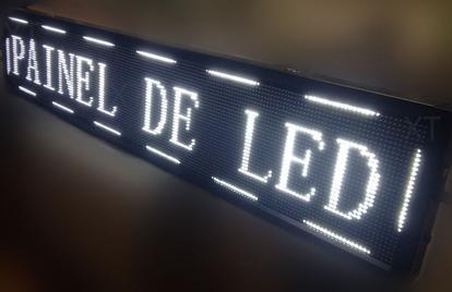 Letreiro Luminoso Painel Led indoor Digital 200x40cm Wi-fi branco