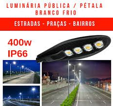 LUMINÁRIA PÚBLICA DE LED PARA POSTE 400W (CHIPS PHILIPS) BRANCO FRIO QUATRO CHIPS