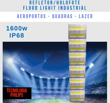 REFLETOR LED MODELO 2019 FLOOD LIGHT 1600W IP68 SEIS MÓDULOS NUMBER THREE