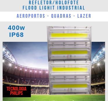 REFLETOR LED MODELO 2019 FLOOD LIGHT 400W IP68 DOIS MÓDULOS NUMBER THREE