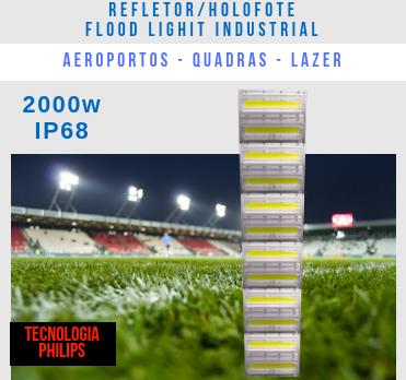 REFLETOR LED MODELO 2019 FLOOD LIGHT (TECNOLOGIA PHILIPS) 2000W ALTA POTÊNCIA NUMBER THREE
