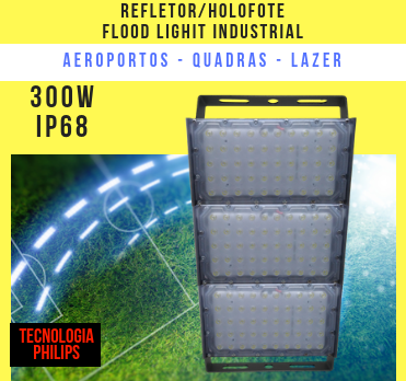 REFLETOR LED MODELO 2019 FLOOD LIGHT (TECNOLOGIA PHILIPS) 300W IP68 TRÊS MÓDULOS NUMBER TWO