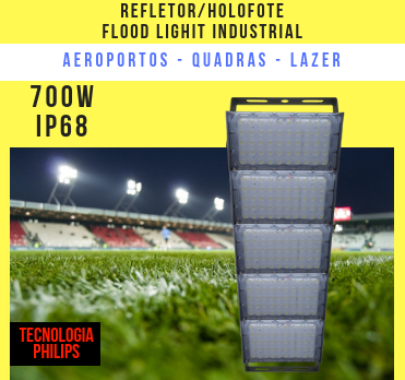 REFLETOR LED MODELO 2019 FLOOD LIGHT (TECNOLOGIA PHILIPS) 700W IP68 CINCO MÓDULOS NUMBER TWO