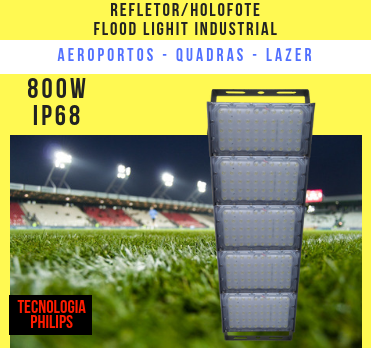 REFLETOR LED MODELO 2019 FLOOD LIGHT (TECNOLOGIA PHILIPS) 800W IP68 CINCO MÓDULOS NUMBER TWO
