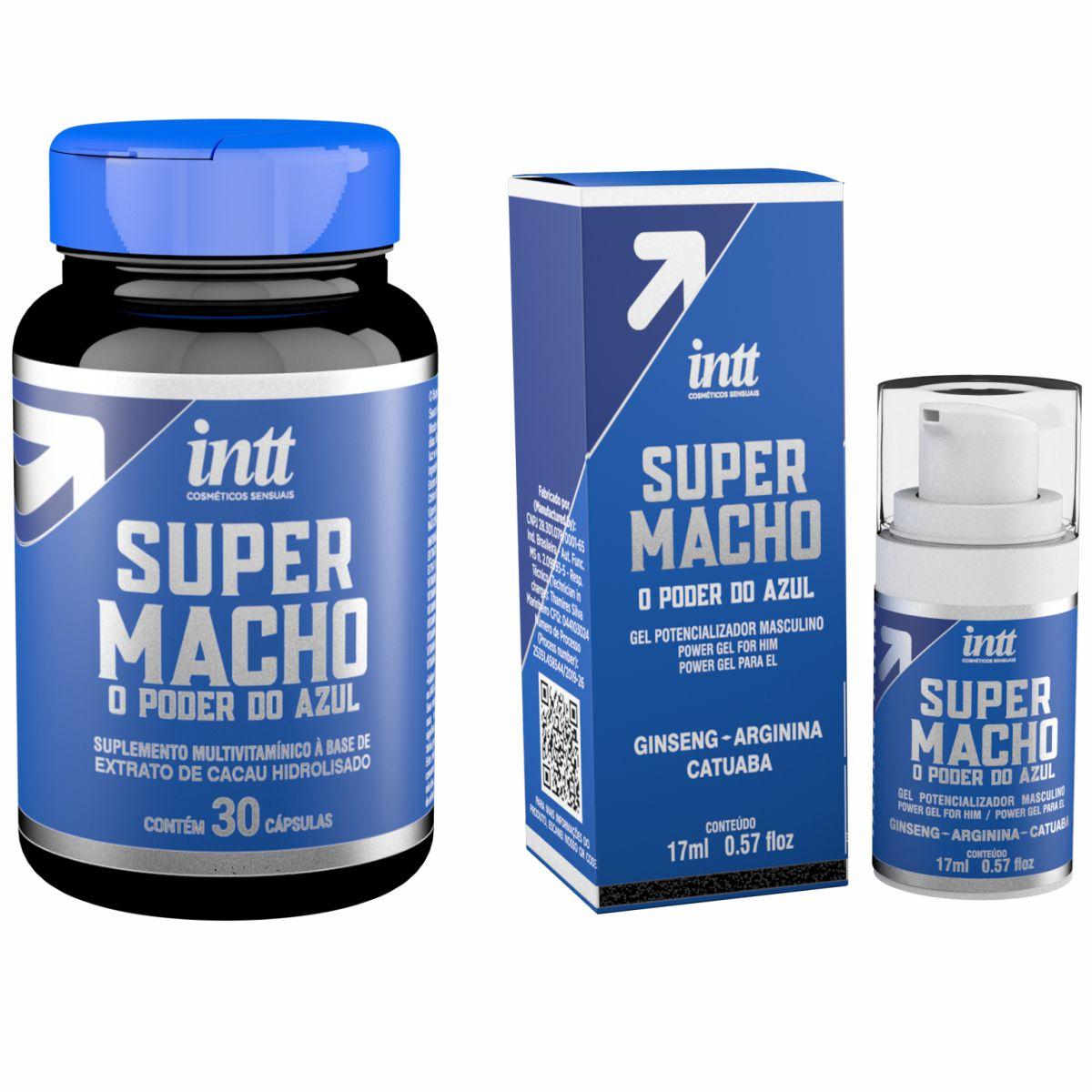 Super Macho Suplemento Potencializador Multivitamínico Masculino Cápsulas + Gel  Intt