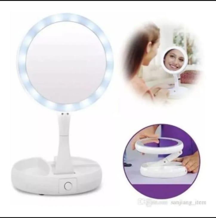 Espelho para Maquiagem e sobrancelhas com LED Dupla Face Portatil  Envio Imediato.