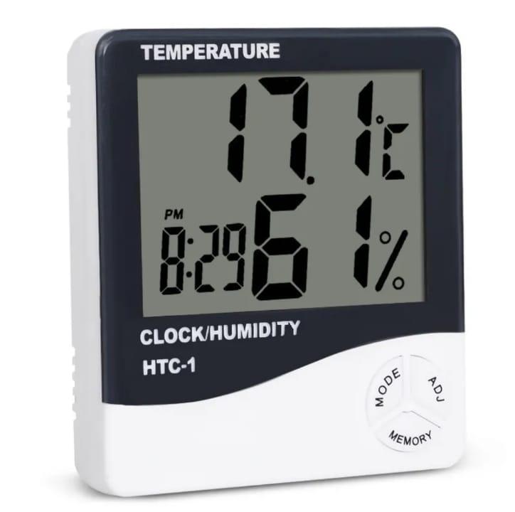 Higrometro Digital Medidor de Umidade Relogio Htc1 Entrega Imediata