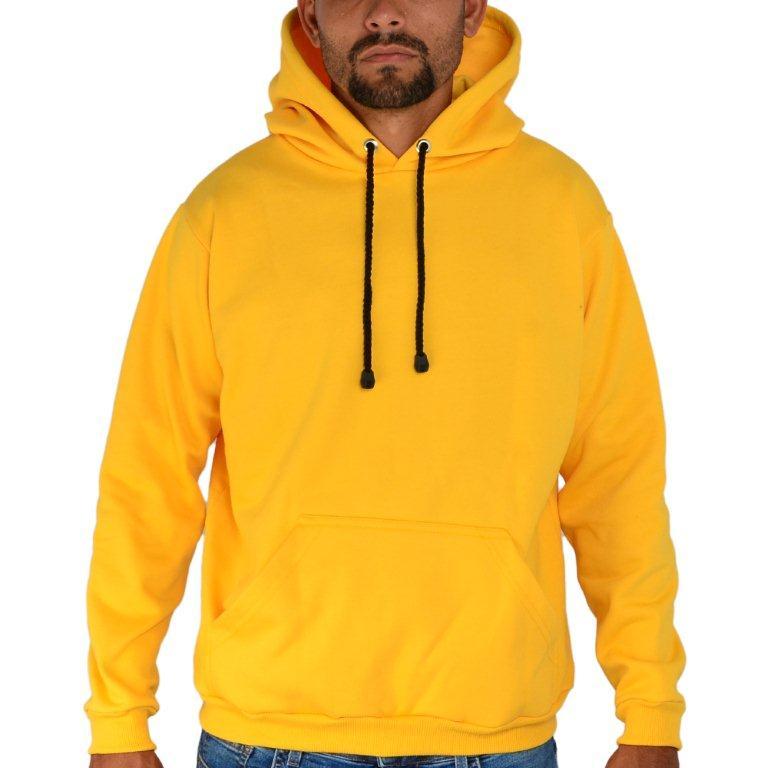 Blusa Moletom Canguru Capuz Liso Amarelo