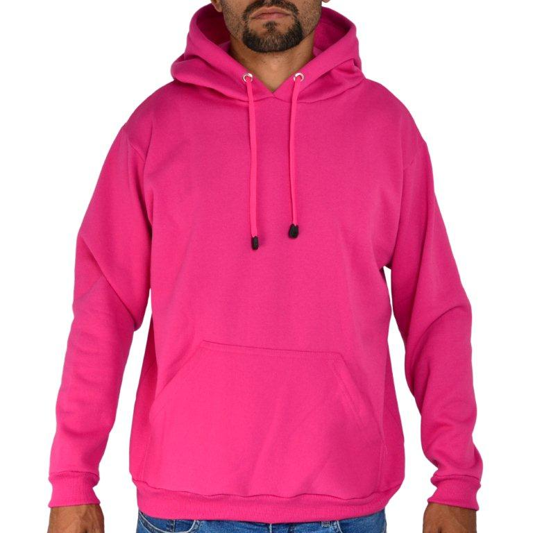 Blusa Moletom Canguru Capuz Liso Rosa