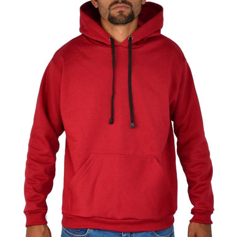Blusa Moletom Canguru Capuz Liso Vermelho