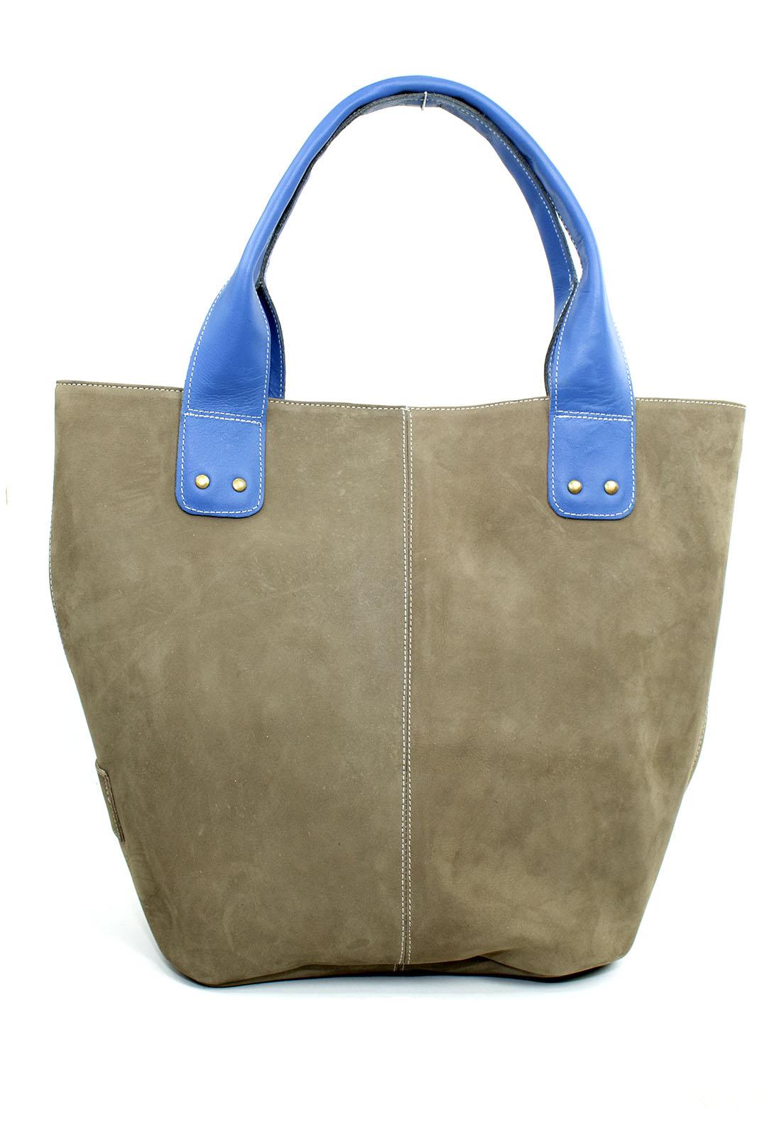 Bolsa Feminina Sacola Mary Cinza com Azul