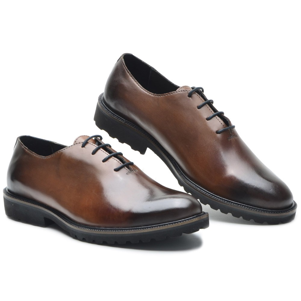 Sapato Masculino Oxford Brogue Wing Blade Whisky