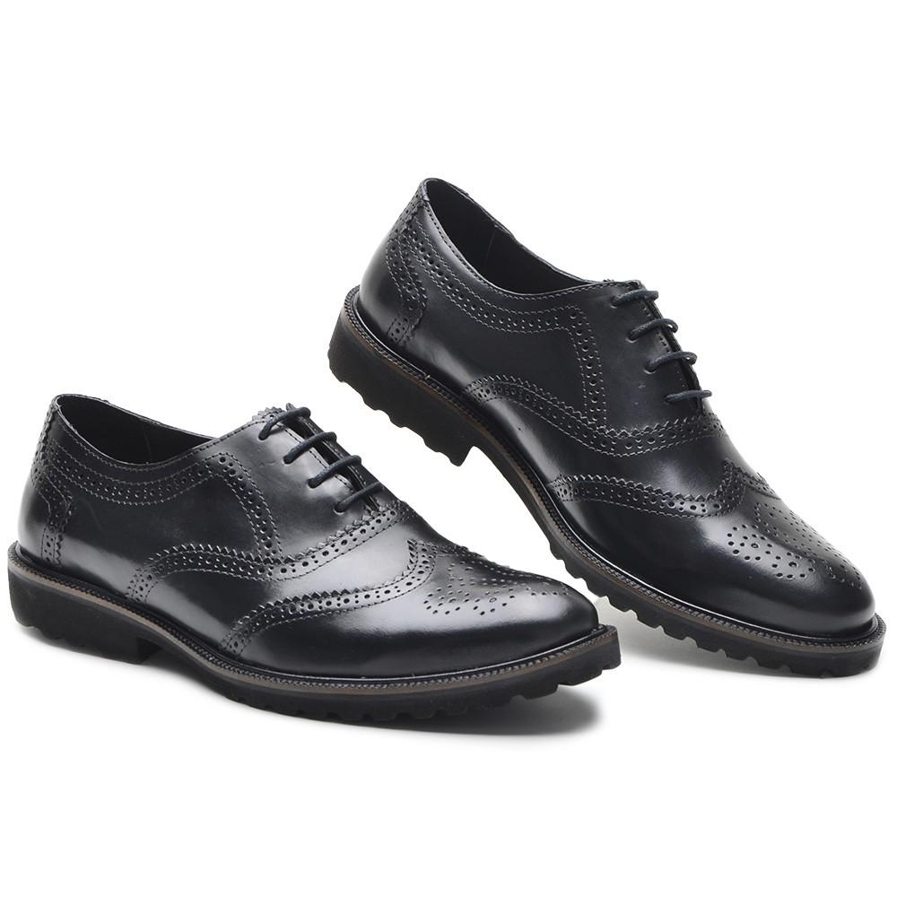 Sapato Masculino Oxford Brogue Wing Claus Preto