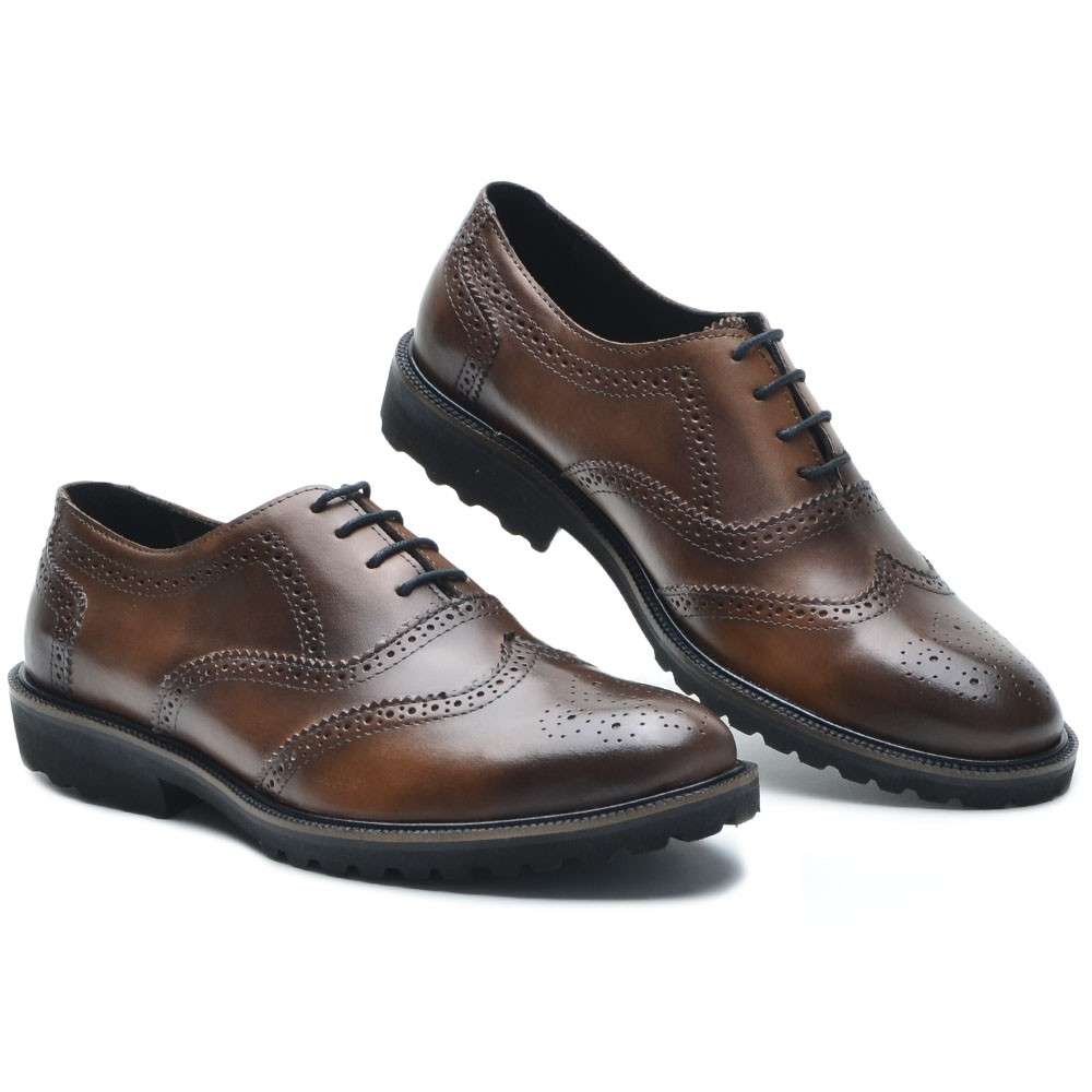 Sapato Masculino Oxford Brogue Wing Claus Whisky