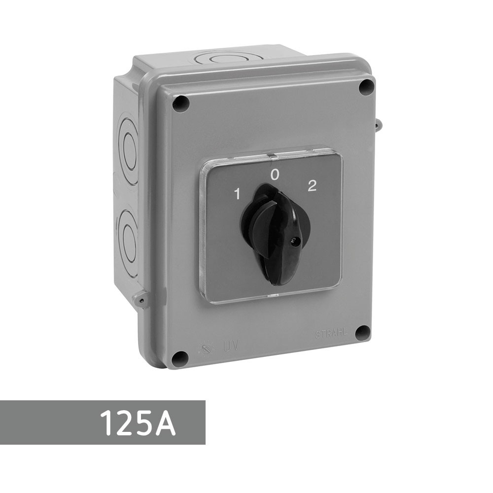 CAIXA COM CHAVE REVERSORA - 125A - STRAHL 3082/GT-125R