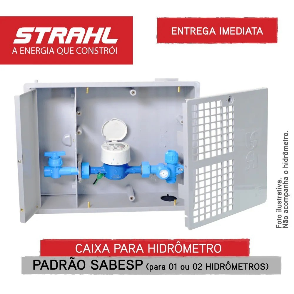 CAIXA PARA HIDRÔMETRO PADRÃO SABESP PARA 1 OU 2 HIDRÔMETROS - STRAHL