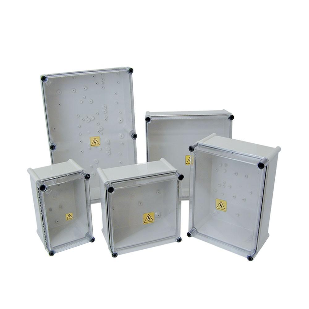 CAIXA PARA STRING BOX COM TAMPA TRANSPARENTE E PLACA METÁLICA - IP65